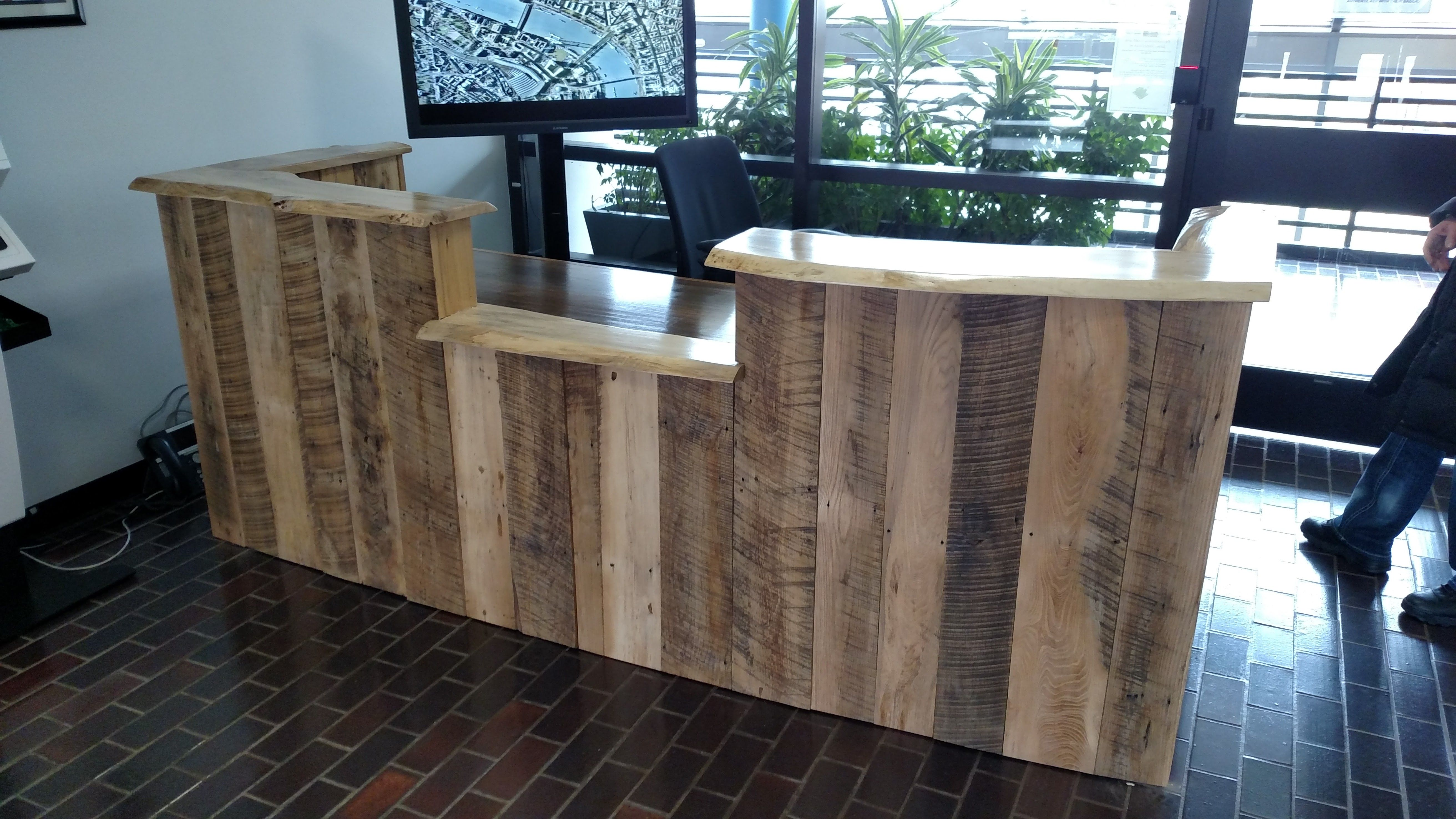 Custom Made Rustic Reclaimed Wood And Live Edge Reception Desk By