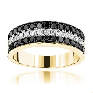 Custom Made 3 Row White Black Diamond Wedding Band