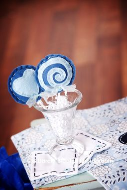 "Custom Made Two Baby Blue And Blue Felt Lollipops ""Blueberry Muffin''"