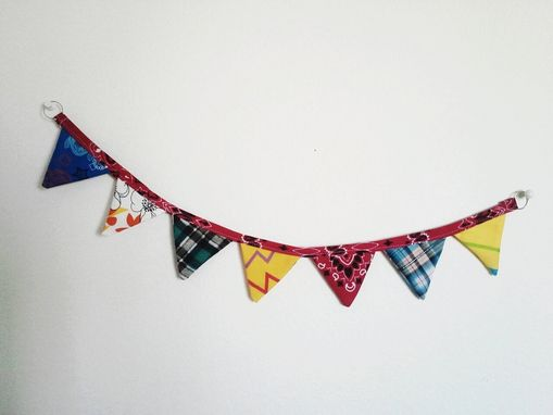 Custom Made Mini Fabric Bunting. Nursery Decor Office Decor Cloth Pennant Flag Banner.