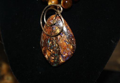 Custom Made 53ct Koroit Boulder Opal Picture Stone, 14kt Rolled Gold Wire Bail