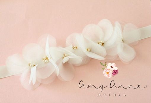 Custom Made Ivory Organza Bridal Sash - Bhldn Inspired