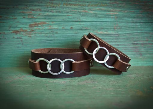 Custom Made Leather And Sterling Cuff Bracelet For Man Or Woman