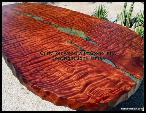 Custom Made Live Edge Wood Slab Curly Redwood Dining Table With Stone Inlay