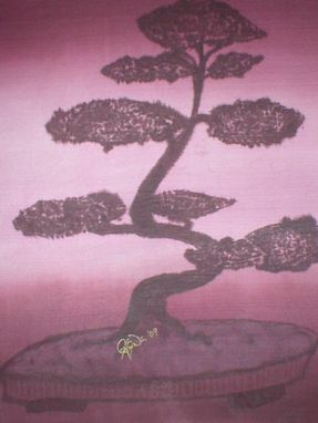 Custom Made Bonsai - Hand Painted Silk, Mounted On Canvas