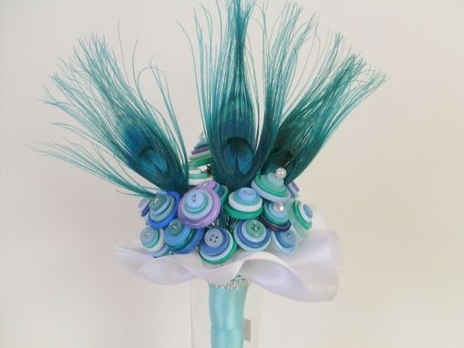 Custom Made Peacock Blue Buttons Bridal Bouquet