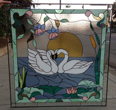 Custom Made Kissing Swans & Water Lillies Stained Glass Window