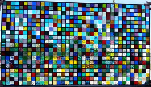 Custom Made Squares Galore-Stained Glass Panel(P-73)