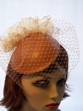 Custom Made Brown Leather Headpiece With Veil
