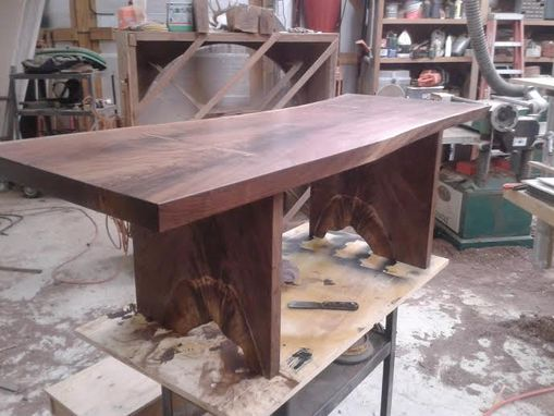Custom Made Solid Black Walnut Coffee Table With With Live Edge