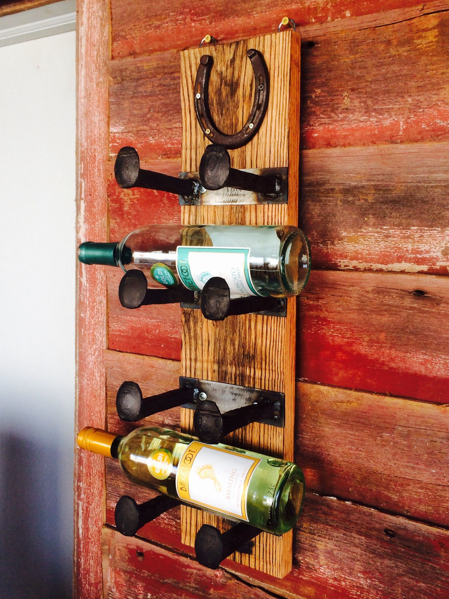 Buy A Hand Crafted Railroad Spike Wine Rack With Lucky Horseshoe