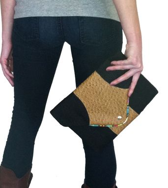 Custom Made Black Burlap Envelope Clutch-Ostrich