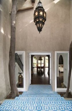 Custom Made Fez - Blue And White Cement Tile Entryway