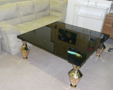 Custom Made Black Acrylic Slab Top With Custom Style Legs