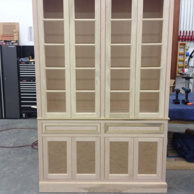 Hand Made Unfinished China Cabinet Built In By J S Woodworking Dining Room
