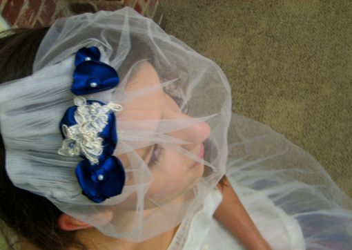 Custom Made Laura - Handmade Birdcage Veil Upcycled From Vintage Tulle, Handmade Satin Flowers And Pearl Beads