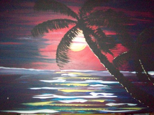 Custom Made Original Painting On Hardwood Titled: Sunset Palm