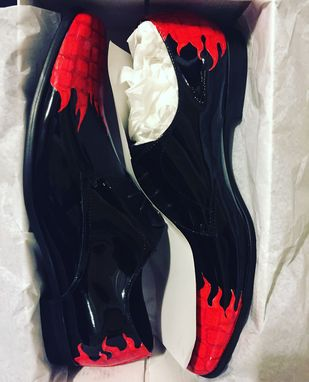 Custom Made Custom Painted Flame Patent Leather Shoes