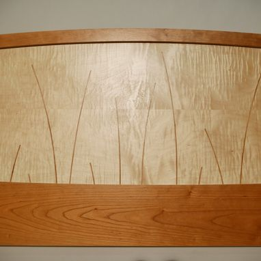 Custom Made King Size Headboard, Handmade Wood Bed, Cherry, Curly Maple,