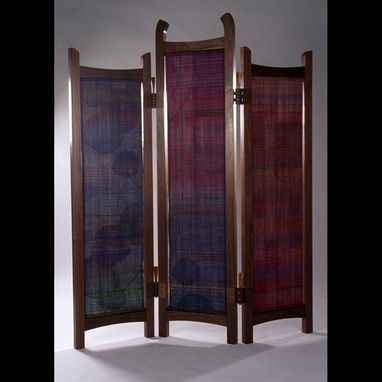 Custom Made Woven Silk And Walnut Screen