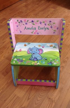 Custom Made Custom Personalized Hand Painted Step Stool Chair