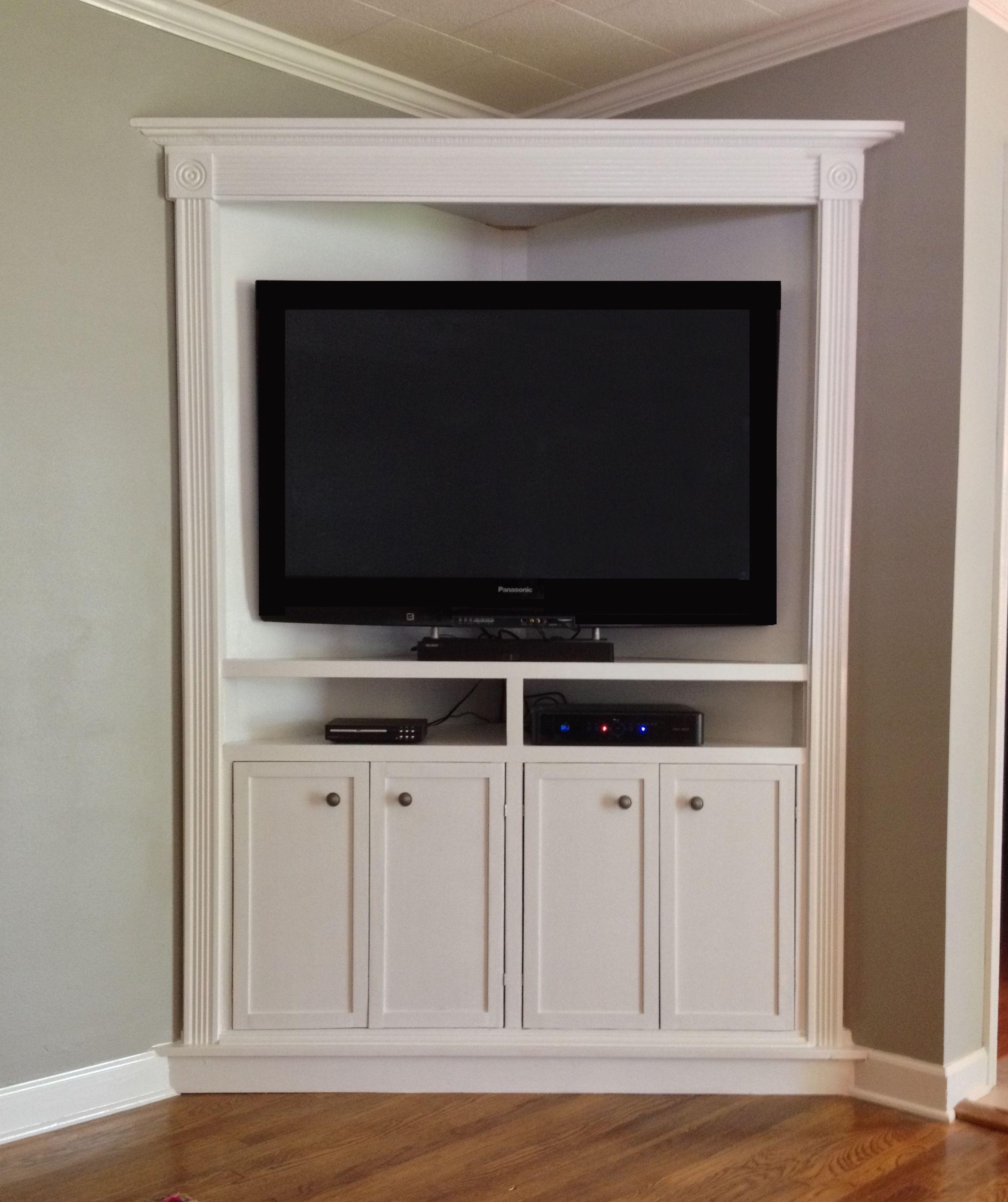 Custom Made Corner Entertainment Media Cabinet