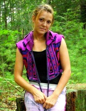 Custom Made Upcycled Tribal Hooded Wrap Vest One Size Ooak
