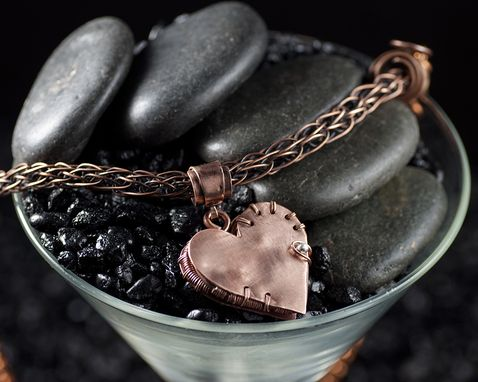 Custom Made Copper Heart Locket With Fine Silver Accent And Viking Knit Panel Chain
