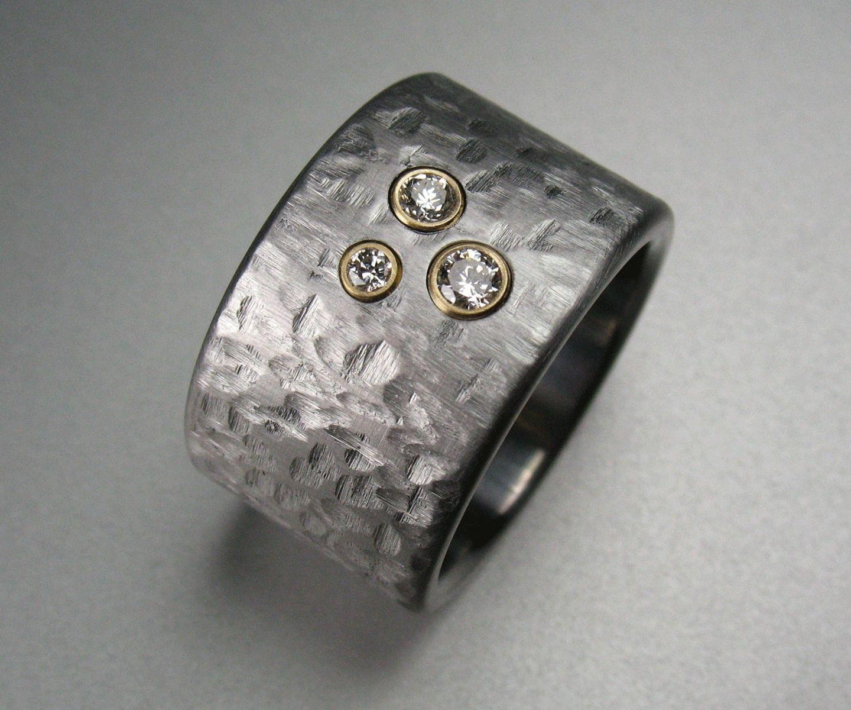 Custommade Diamond: Buy A Handmade Three Diamond Stainless Steel Ring, Made To