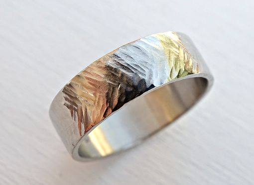 Custom Made Gold Wedding Band Men, Solid Gold Chevron Ring, Mens Tire Tread Ring
