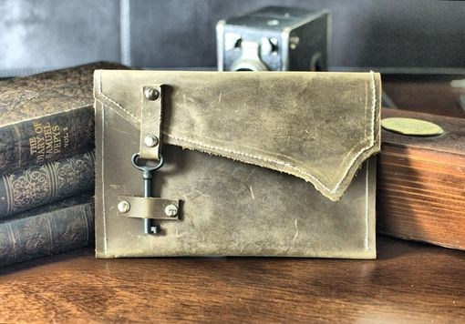 Custom Made Sheffield Rustic Leather Clutch With Skeleton Key Clasp