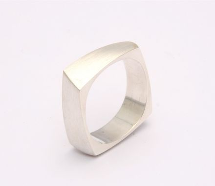 Custom Made Sterling Silver Square Cut Ring