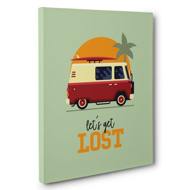 Custom Made Hippie Van Let'S Get Lost Canvas Wall Art