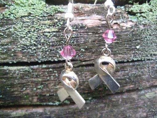 Custom Made Pink Breast Cancer Awareness Swarovski Earrings