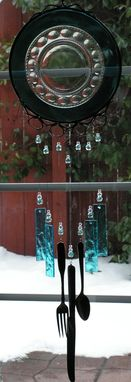 Custom Made Turquoise Vintage Plate Wind Chime With Glass Chimes