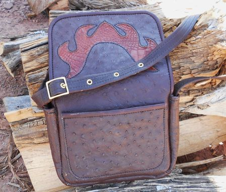 Custom Made Ostrich Main Body, Gator Inlay On The Front Flap And Lined With Buffalo Leather