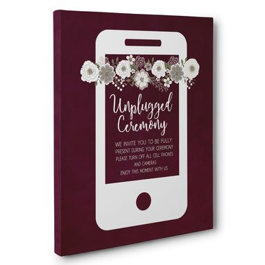 Custom Made Burgundy Unplugged Wedding Ceremony Canvas Wall Art