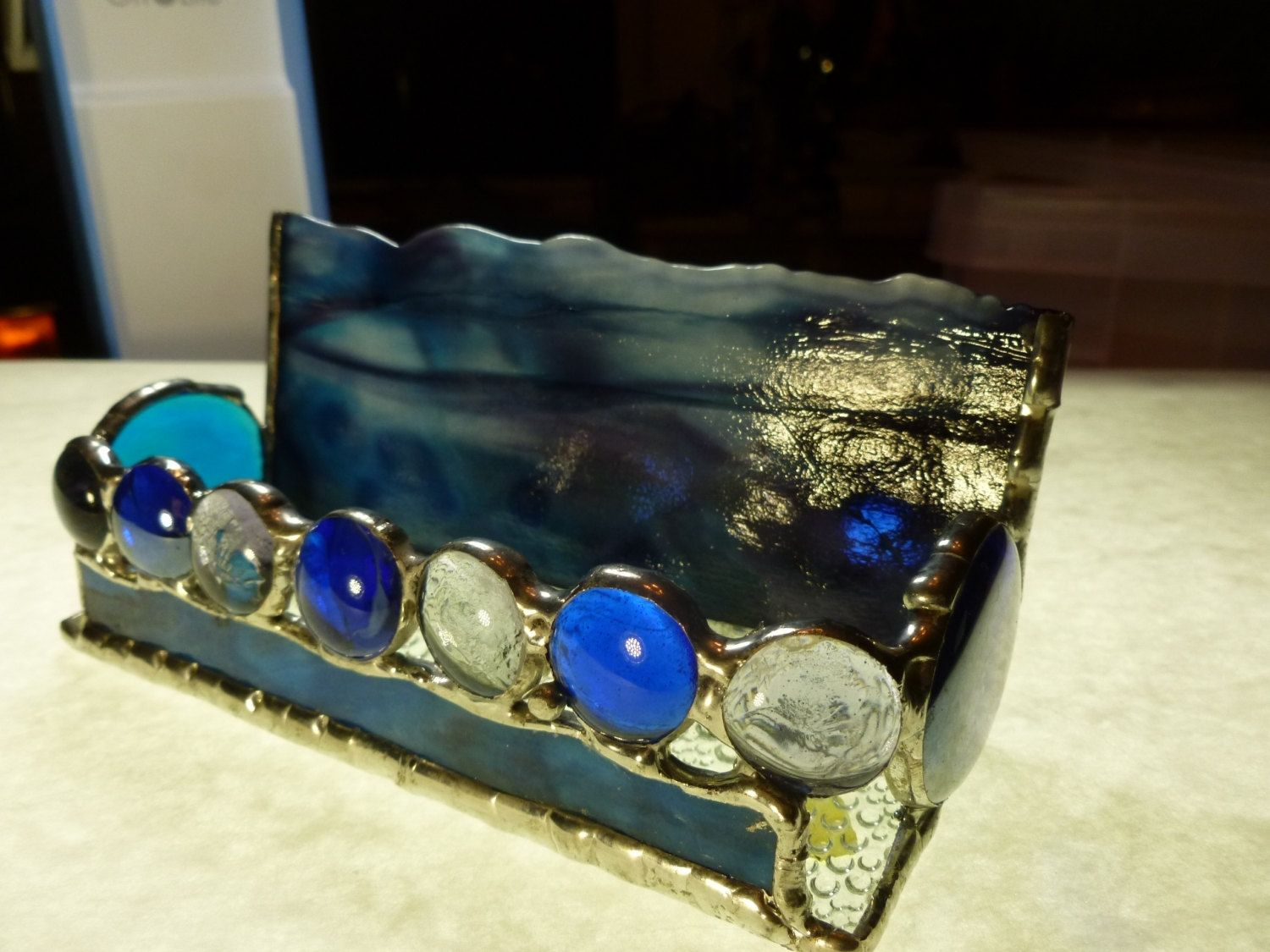 Hand Made Blue And Purple Stained Glass Business Card Holder With ...