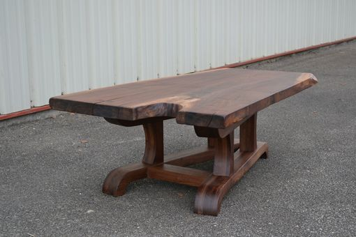 Custom Made Live Edge Walnut Coffee Table With Tapered Modern Base