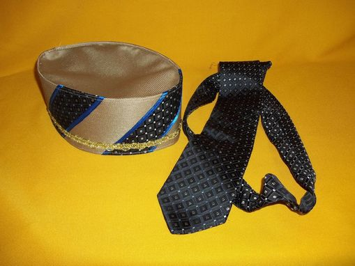 Custom Made Mans Crown& Neck Tie Set. Camel Cable Silk Crown (Ku-Fi) W/ Accents To Match Neck Tie