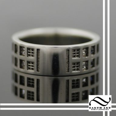 Custom Made Tardis Wedding Band With Sapphire