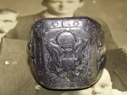 Custom Made Antiqued Sterling Silver World War Ii 2 United States Square Army Ring