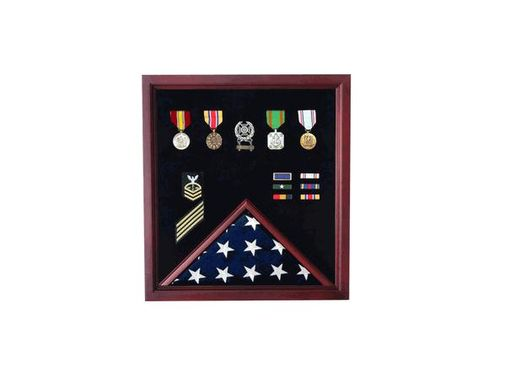 Custom Made Military Flag And Medal Display Case - Shadow Box Veterans Made