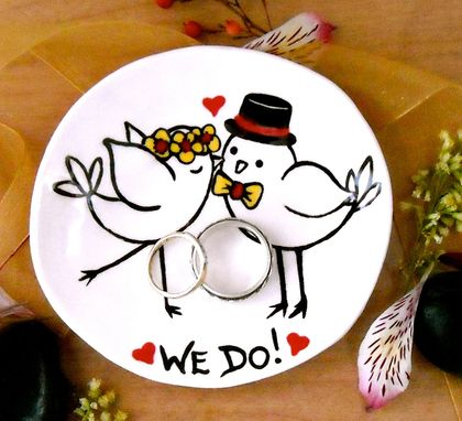Custom Made Bride & Groom Love Birds Wedding Ring Bowl - We Do