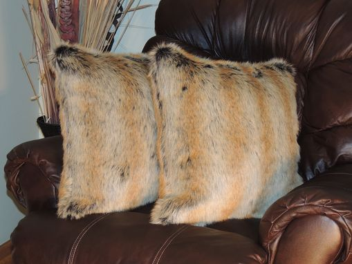 Custom Made Chinchilla Fur Gold Faux Fur 18 X 18 In. Decorative Pillow - Set Of 2