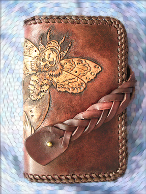 Custom Made Hand Tooled, Hand Carved Biker Skull Moth Magic Braid Closure Wallet.