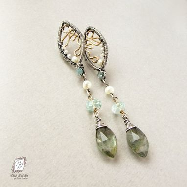 Custom Made Sterling Silver And Gold Earrings Two Tone, Moss Aquamarine And Freshwater Pearls