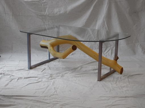 Custom Made Square Steel Frame Resting Branches Coffee Table Shown In Yellow