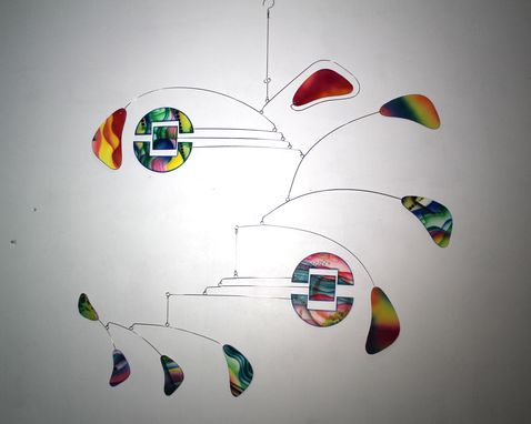 Custom Made Modern Mobile - Splitstream Style - Bright Colors - Kinetic Art Sculpture
