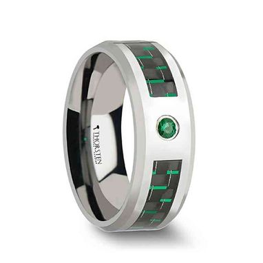 Custom Made Aspen Tungsten Carbide Ring With Black And Green Carbon Fiber And Emerald Setting - 8mm